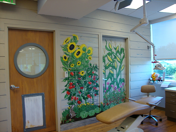 Vegetables on the wall at the Pediatric Dentist in Alpharetta